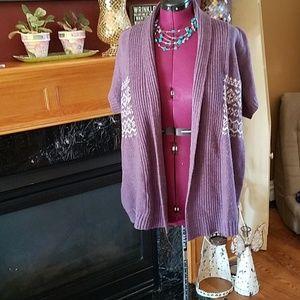 Sonama short sleeve 1X purple sweater